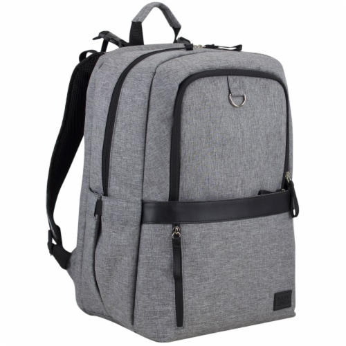 Bodhi Baby Rubin Weekender Tech Diaper Backpack - Mid-grey Chambray Perspective: left