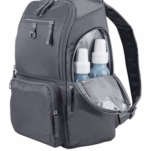 Bodhi Baby Lafayette Street Diaper Backpack - Ash Grey Perspective: left