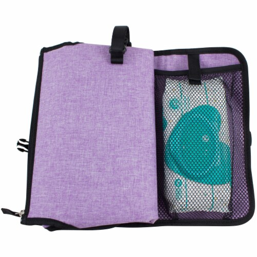 Bodhi Baby Changing Pad Station - Purple Chambray Perspective: left