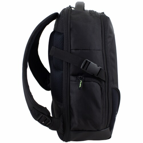 Fuel Sentry TSA Friendly Tech Backpack - Black with Celery Trim Perspective: left