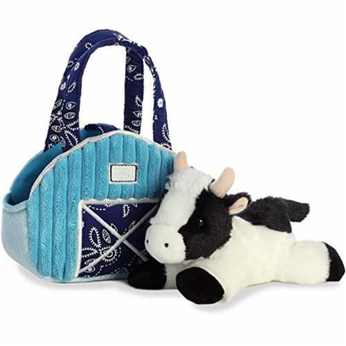 """Aurora 7"""" Aqua Blue Barn Pet Carrier Plush Toy,  Fancy Pals Cow Perspective: left"""