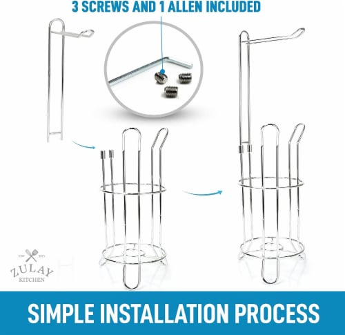 Toilet Paper Holder Stand & Storage Holds 3 Extra Rolls for Bathroom Perspective: left