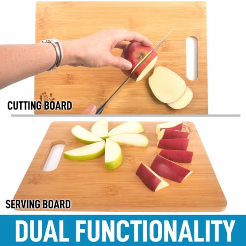 Bamboo Wooden Cutting Boards For Kitchen Premium 3 Assorted Sizes Wood Cooking Serving Perspective: left