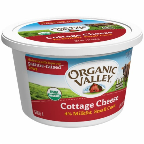 Organic Valley 4% Milkfat Small Curd Cottage Cheese Perspective: left