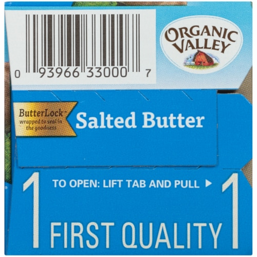 Organic Valley Quartered Salted Butter Perspective: left