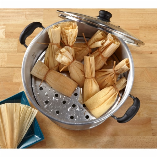 IMUSA Seafood and Tamale Steamer with Glass Lid - Silver Perspective: left