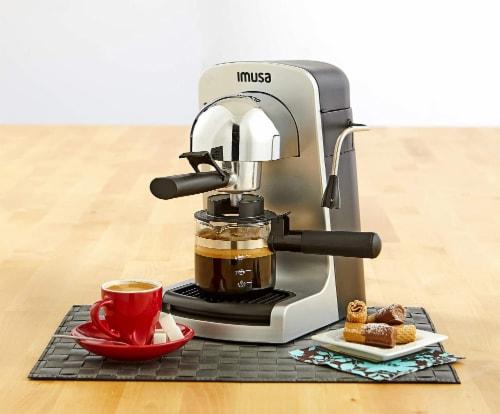 IMUSA Bistro Electric Espresso & Cappuccino Maker with Carafe - Silver Perspective: left