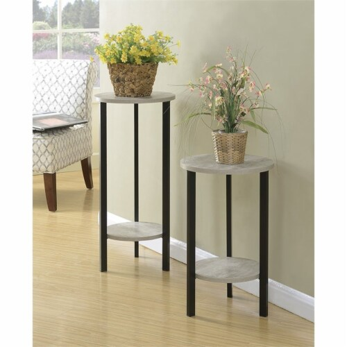 Graystone 24  Plant Stand in Gray Faux Birch Wood Finish and Black Metal Frame Perspective: left