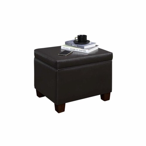 Convenience Concepts Madison Storage Ottoman in Espresso Faux Leather Fabric Perspective: left