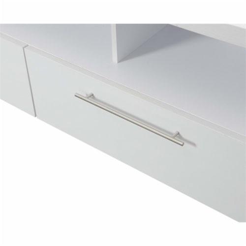 Convenience Concepts Newport Marbella 60  TV Stand in White Wood Finish Perspective: left