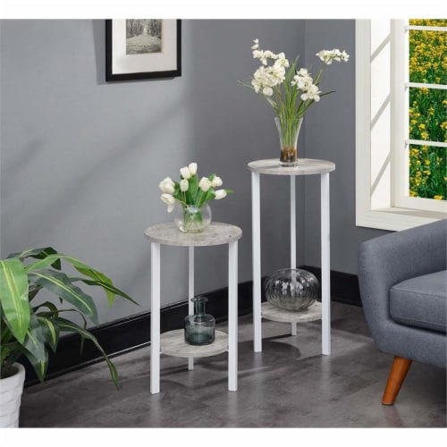 Convenience Concepts Graystone 24  Plant Stand in Gray Faux Marble Wood Finish Perspective: left
