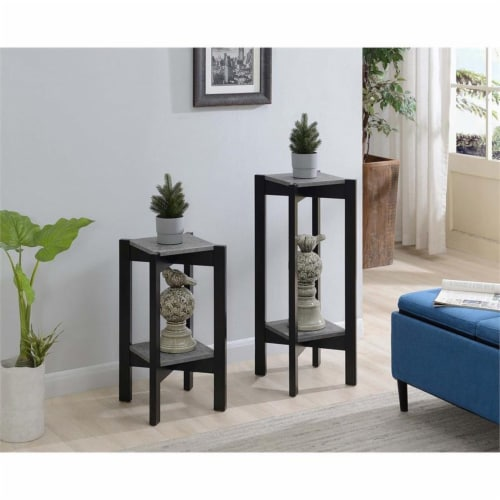 Convenience Concepts Planters & Potts Medium Square Plant Stand in Gray Wood Perspective: left