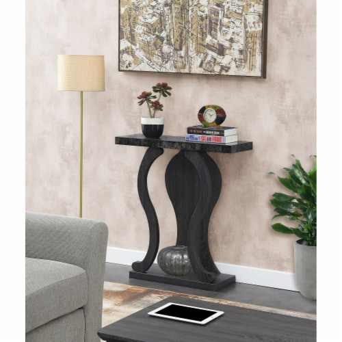 Newport Terry B Console Table in Weathered Gray and Faux Black Marble Wood Perspective: left