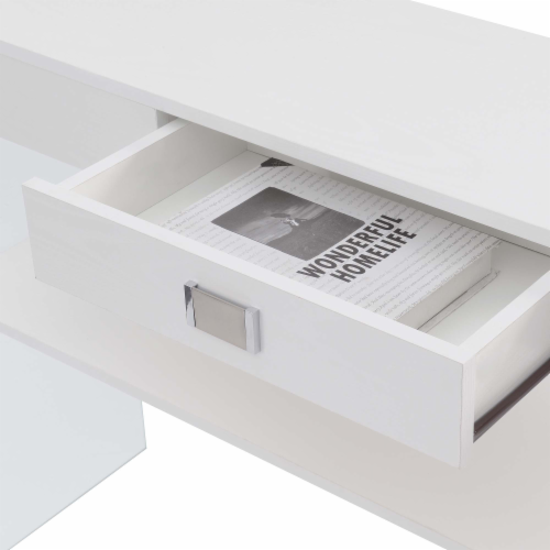 SoHo One-Drawer Console Table in Clear Glass with White Wood Top Perspective: left