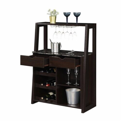 Convenience Concepts Uptown Wine Bar with Cabinet in Espresso Wood Finish Perspective: left