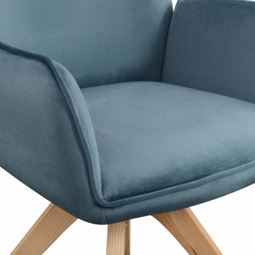 Convenience Concepts Miranda Swivel Accent Chair in Blue Velvet/Natural Wood Perspective: left