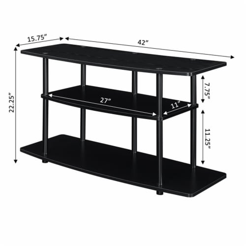 Convenience Concepts Designs2Go Three-Tier Wide TV Stand in Black Wood Finish Perspective: left