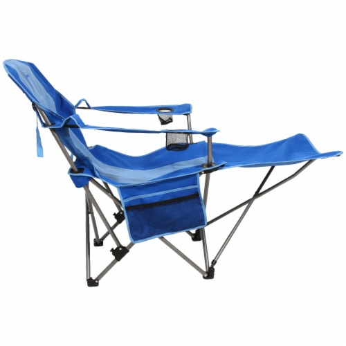 Kamp-Rite Outdoor Camping Beach Patio Folding Chair w/ Detachable Footrest, Blue Perspective: left