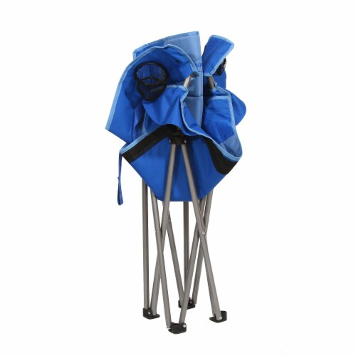 Kamp Rite Padded Folding Camp Chair w/Lumbar Support & Cupholders, Blue Perspective: left