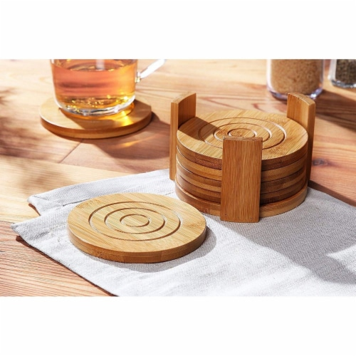 Juvale 6-Pack Round Bamboo Coasters Set with Holder -  Tan, 4.3 Inches Perspective: left
