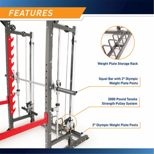 Marcy Pro Smith Machine Weight Bench Home Gym Total Body Workout Training System Perspective: left