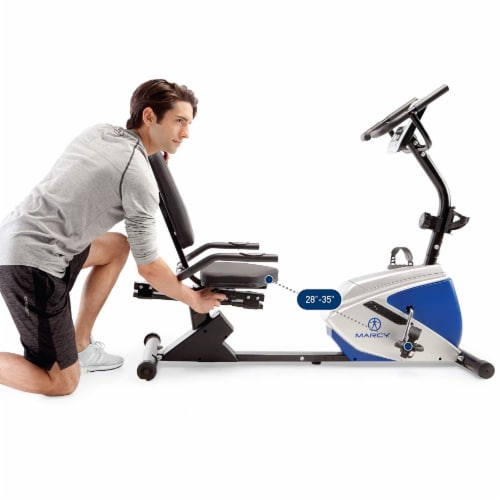 Marcy Sturdy 8 Resistance Magnetic Adjustable Recumbent Home Exercise Bike, Blue Perspective: left