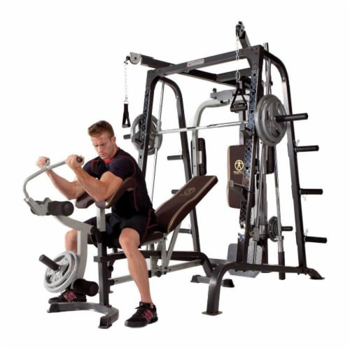 Marcy Deluxe Diamond Elite Smith Cage Home Workout Machine Total Body Gym System Perspective: left