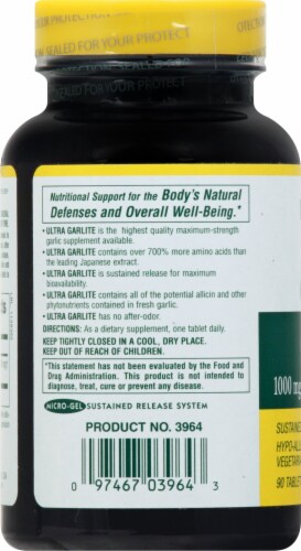 Natures Plus Ultra Maximum Strength GarLite Tablets 1000 mg Perspective: left