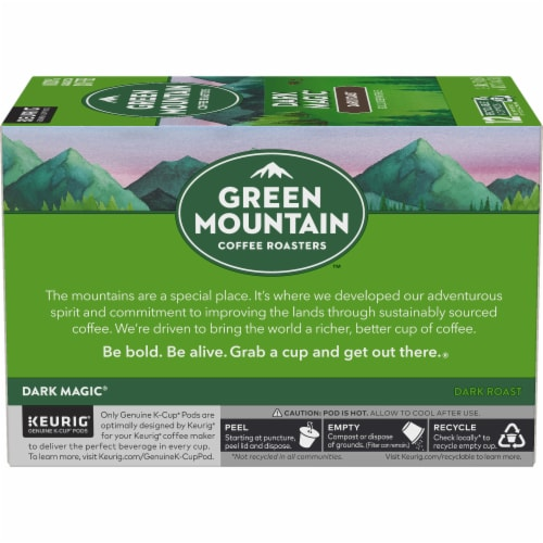 Green Mountain Coffee Dark Magic Dark Roast Coffee K-Cup Pods Perspective: left