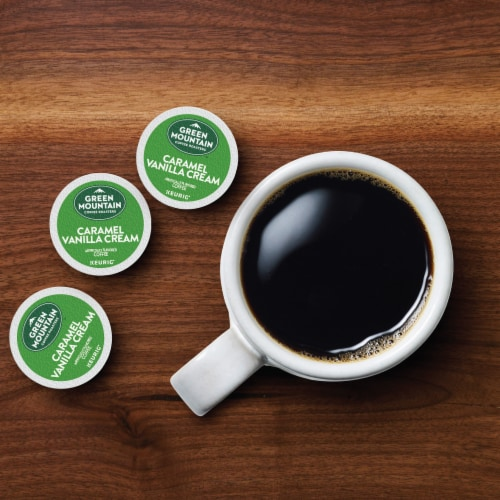 Green Mountain Coffee™ Caramel Vanilla Cream Coffee K-Cup Pods Perspective: left