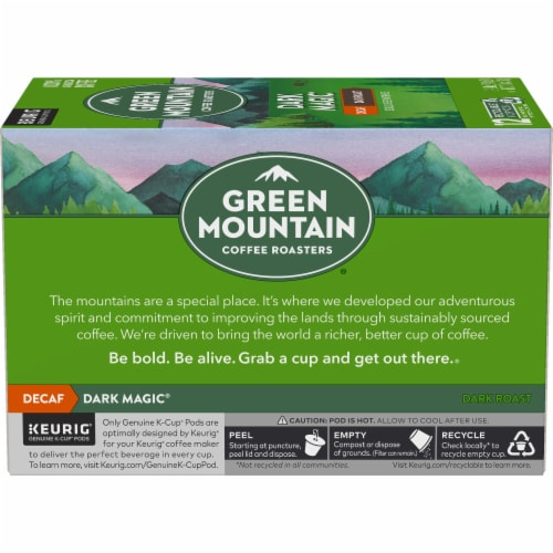 Green Mountain Coffee Roasters Decaf Dark Magic Dark Blend K-Cup Pods Perspective: left