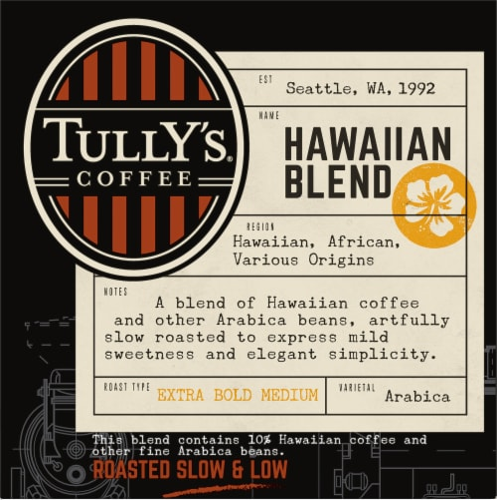 Tully's Coffee Hawaiian Blend Medium Roast Coffee K-Cup Pods Perspective: left