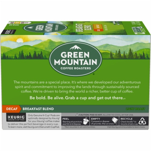 Green Mountain Coffee Decaf Breakfast Blend Light Roast Coffee K-Cup Pods Perspective: left