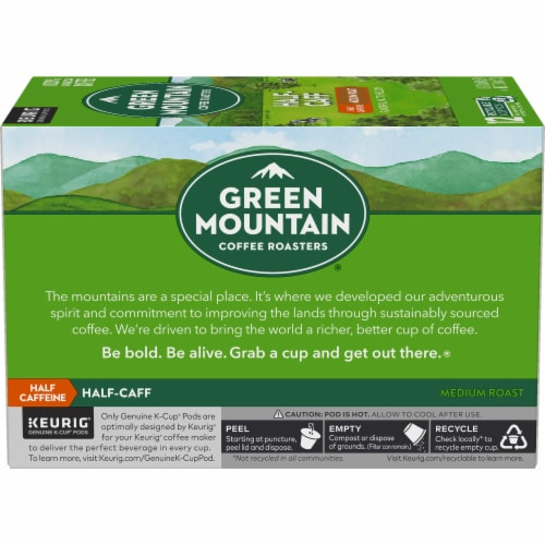 Green Mountain Coffee Roasters Half-Caff Medium Roast Coffee K-Cup Pods Perspective: left