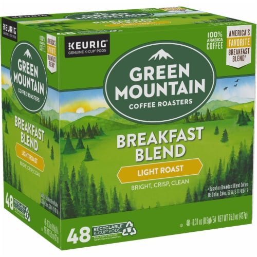 Green Mountain Coffee Roasters Light Roast Breakfast Blend Coffee K-Cup Pods Perspective: left