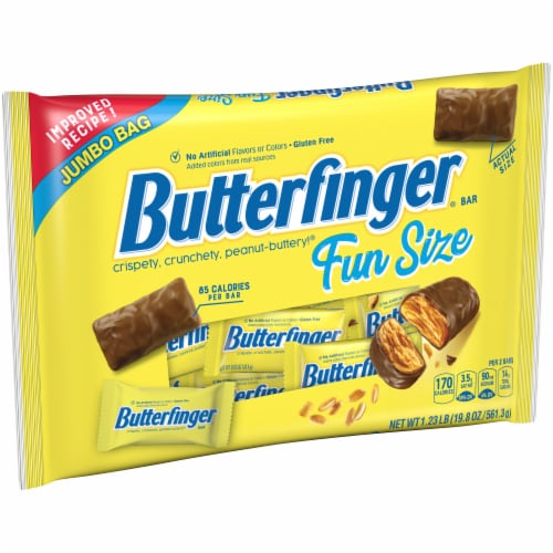 Butterfinger® Fun Size Peanut-Buttery Chocolate-y Halloween Candy Bars Jumbo Bag Perspective: left