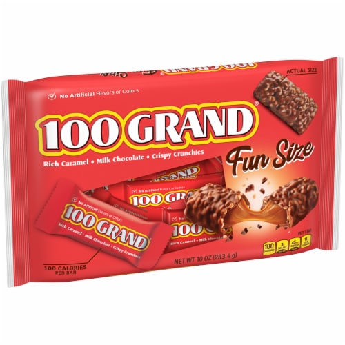 100 Grand Milk Chocolate Fun Size Halloween Candy Bars Perspective: left