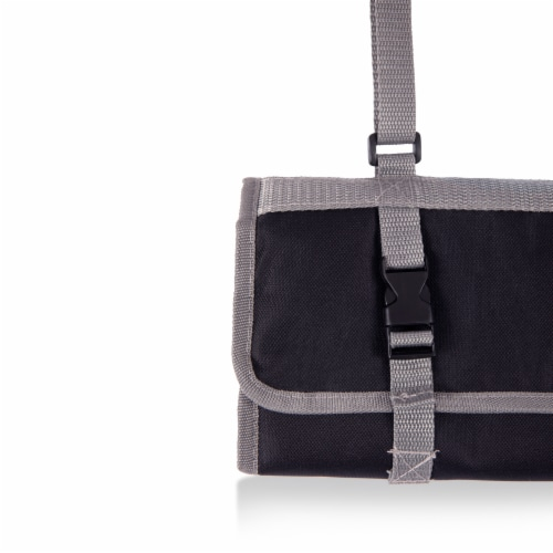 3-Piece BBQ Tote & Grill Set, Black with Gray Accents Perspective: left