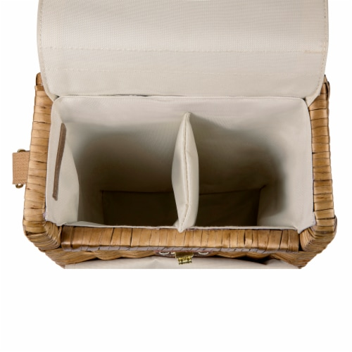 Corsica Wine & Cheese Picnic Basket, Beige Canvas Perspective: left