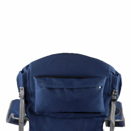 Reclining Camp Chair, Navy Blue with Gray Accents Perspective: left