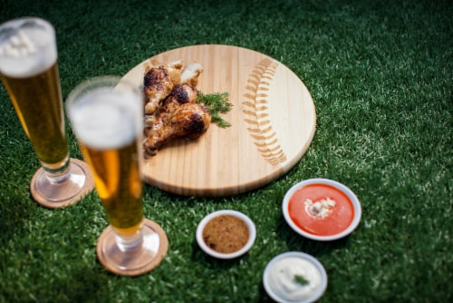 Home Run! Baseball Cutting Board & Serving Tray, Rubberwood Perspective: left