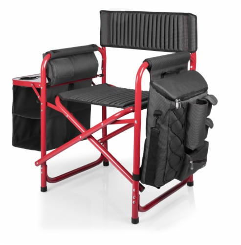 Fusion Backpack Chair with Cooler, Dark Gray with Red Accents Perspective: left