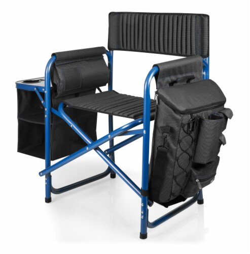 Fusion Backpack Chair with Cooler, Dark Gray with Blue Accents Perspective: left