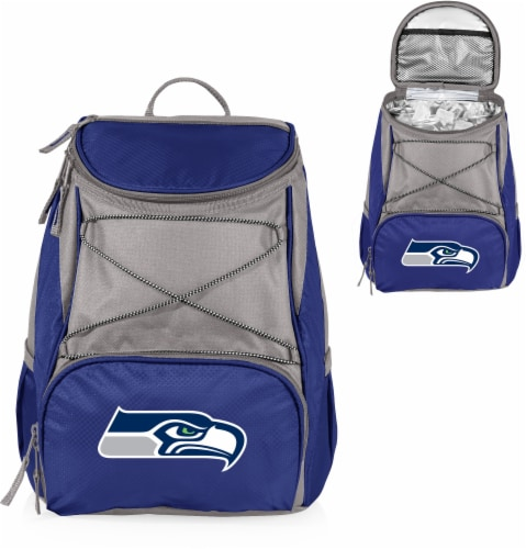 Seattle Seahawks PTX Cooler Backpack - Navy Perspective: left