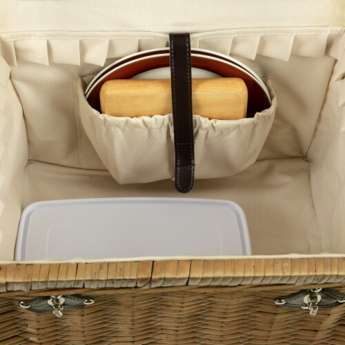 Yellowstone Picnic Basket, Brown with Beige & Red Accents Perspective: left