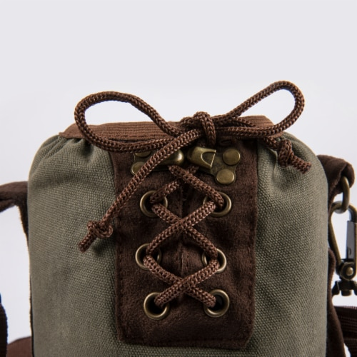 Insulated Growler Tote, Khaki Green with Brown Accents Perspective: left
