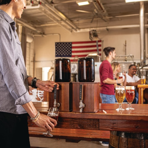 Growler Tap with 64 oz. Glass Growler, Acacia Wood Perspective: left