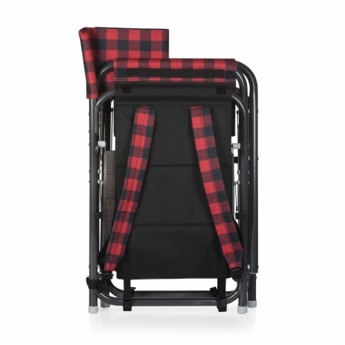 Outdoor Directors Folding Chair, Red & Black Buffalo Plaid Pattern Perspective: left