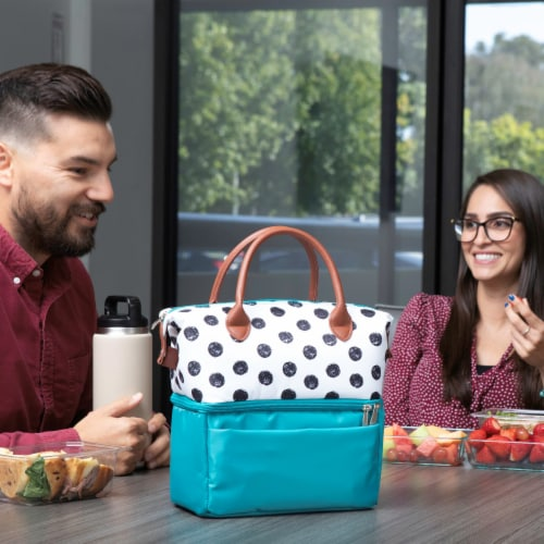 Urban Lunch Bag, Teal with Polka Dot Pattern Perspective: left