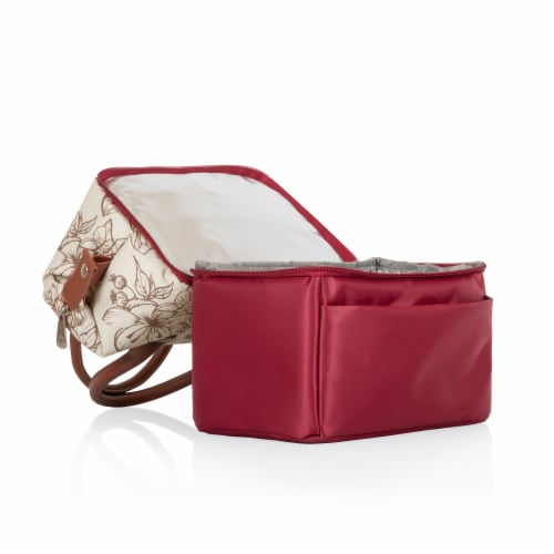 Urban Lunch Bag, Burgundy with Floral Pattern Perspective: left